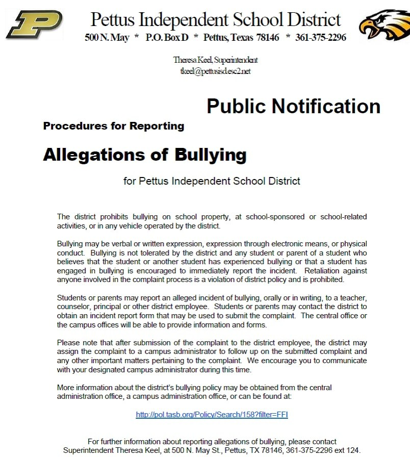Report Concerns or Bullying – Students – Pettus Independent