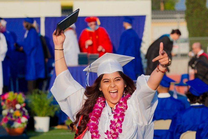 Baldwin Park High School students celebrate their graduation during a ceremony that included speeches by the class valedictorian, salutatorian and Principal Anthony Ippolito.