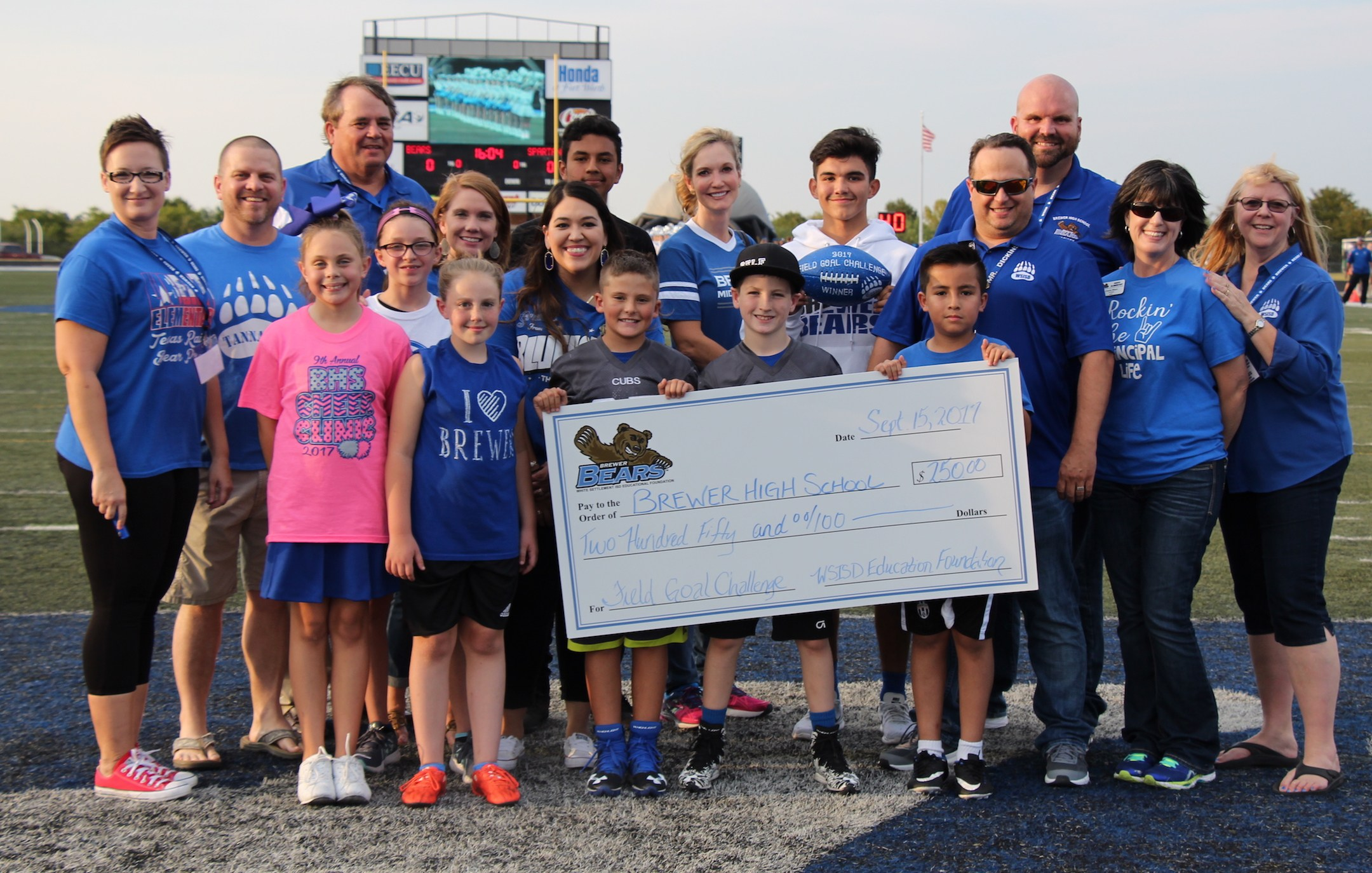 The WSISD Education Foundation sponsored the Field Goal Challenge on Sept. 15, 2017, and Brewer Middle School won $250.