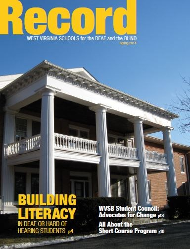 Cover of Spring 2014 Record Showing main front of Administration Building