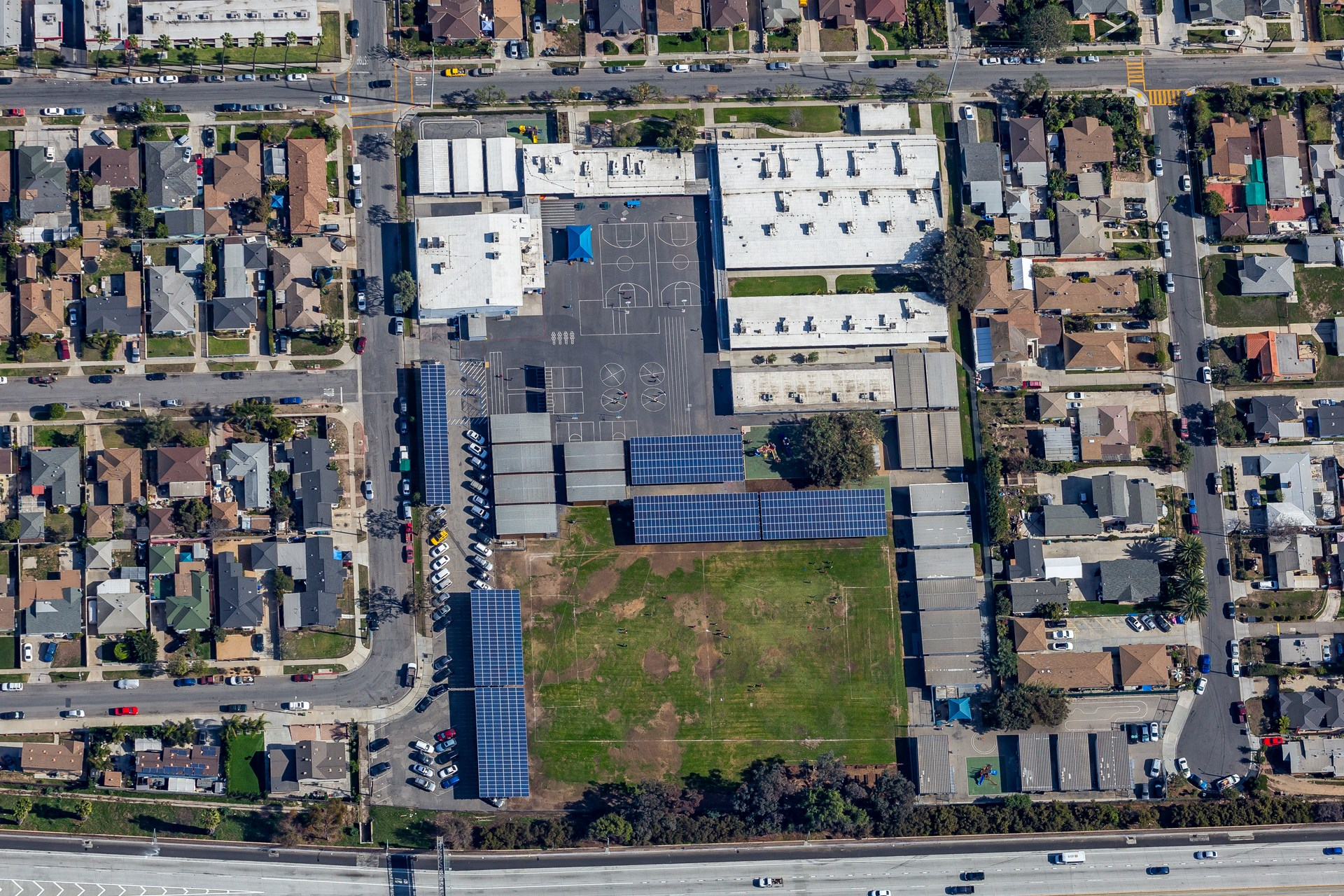 overhead view of Felton Elementary with solar panels