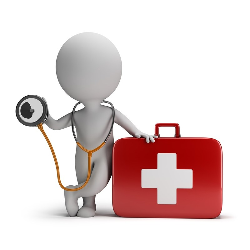 person with first aid kit