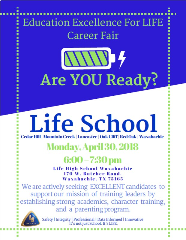 Education Excellence for LIFE Career Fair Flyer
