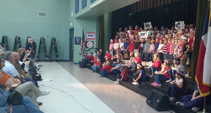 Cannan Elementary's Veteran's Day program with third grade performing.