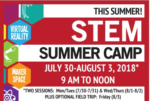 Dartmouth STEM Summer Camp red background with pentagons depicting STEM ideas