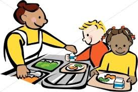 Cafeteria worker serving students clipart