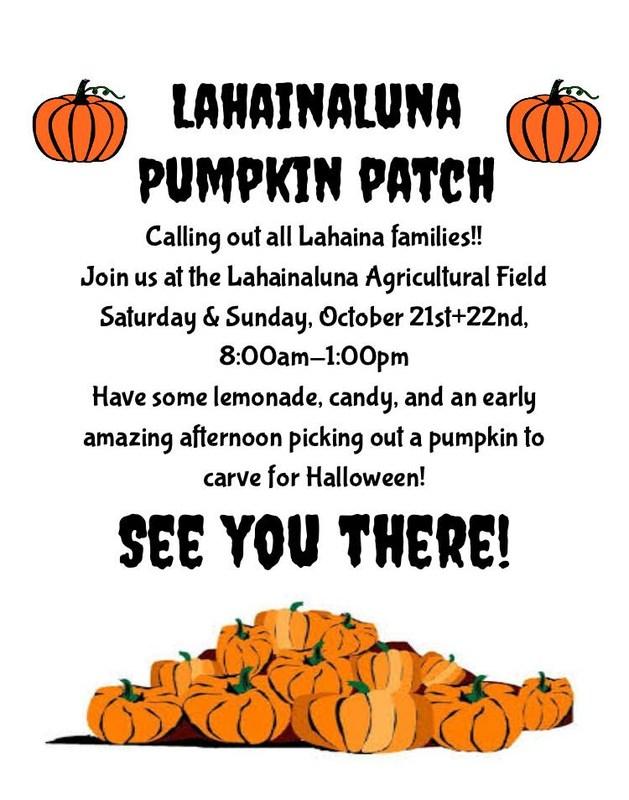 Lahainaluna High School Pumpkin Patch Flyer