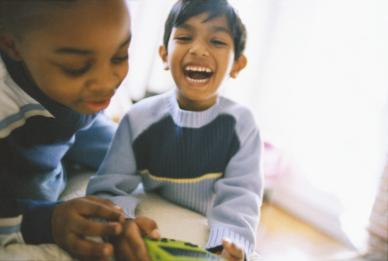 Two smiling elementary age students