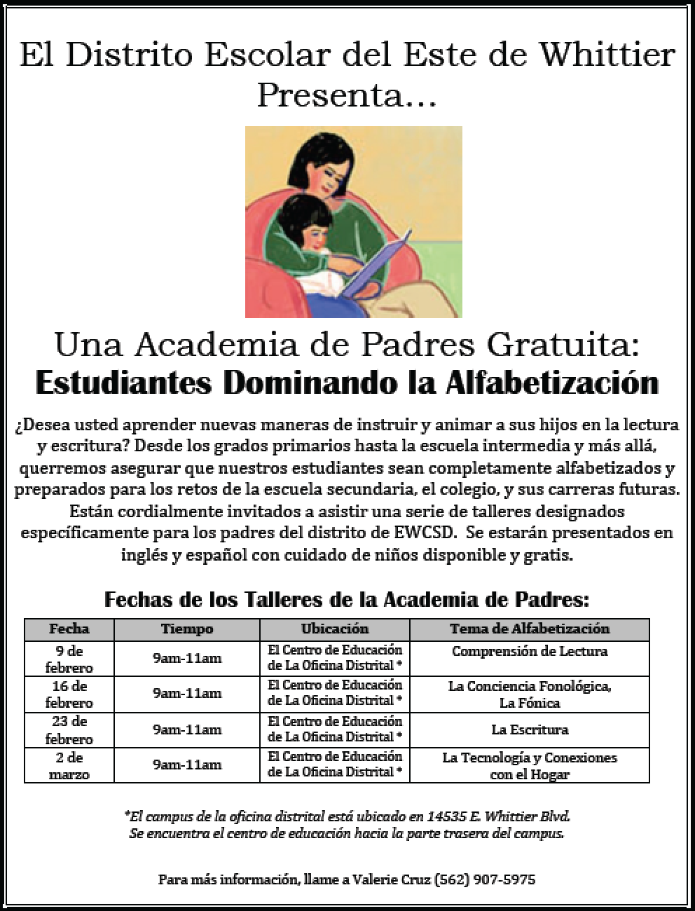 Promoting Student Literacy schedule in Spanish