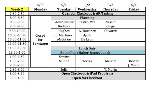 Library Schedule Week 2