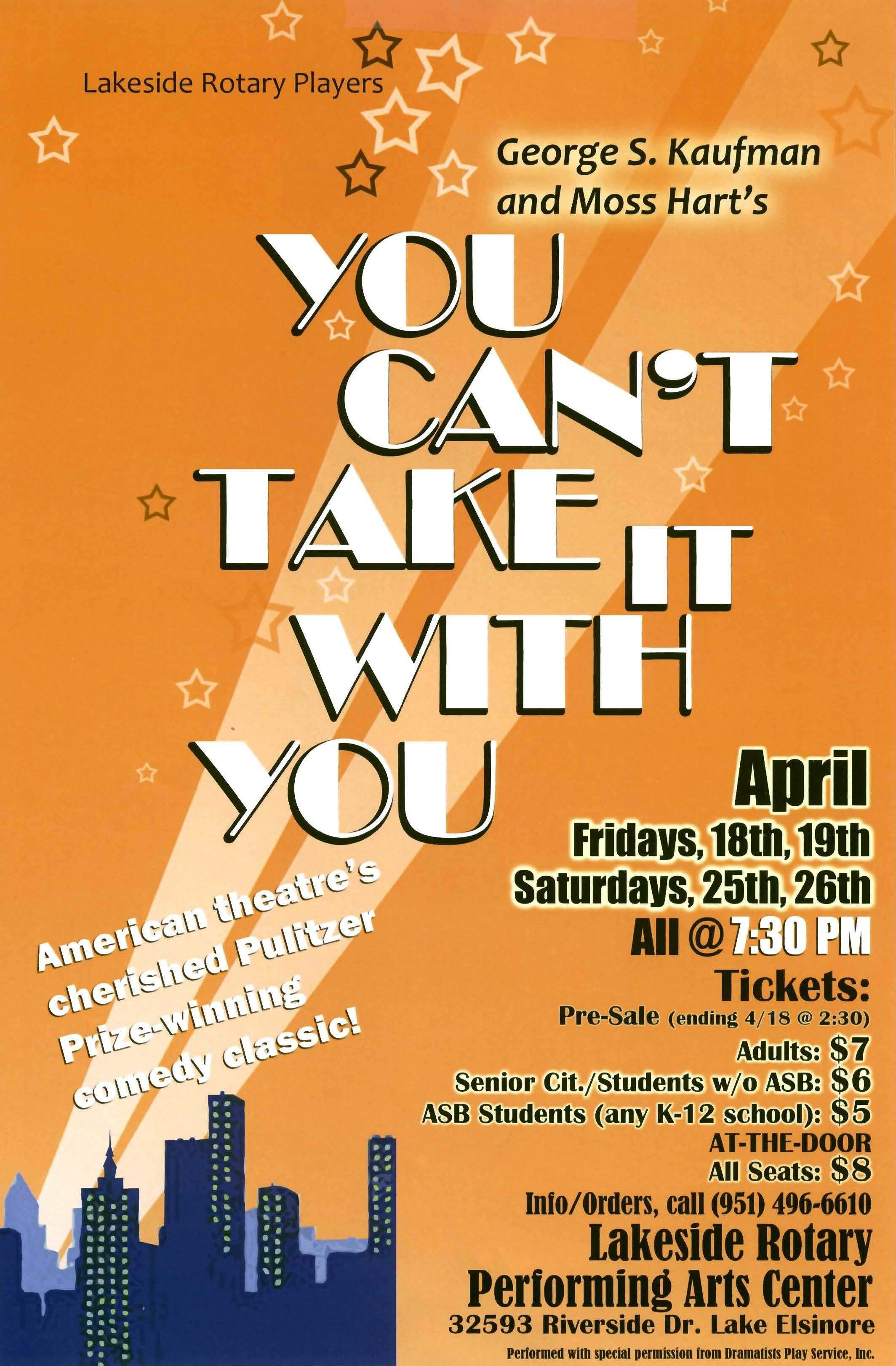 You Can't Take It With You (Spring 2014)