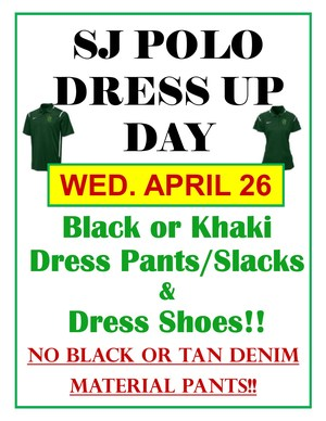 Dress code reminder flyer, POLO SHIRT DAY Apr 26.jpg