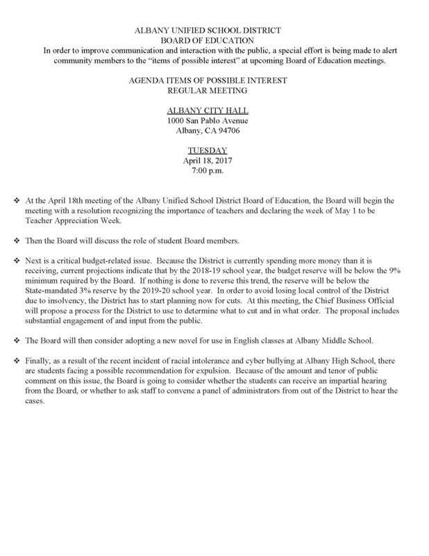 Agenda Items of Possible Interest Regular Meeting 4/18/17