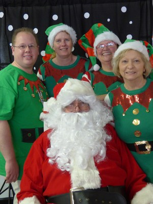 child nutrition staff and santa