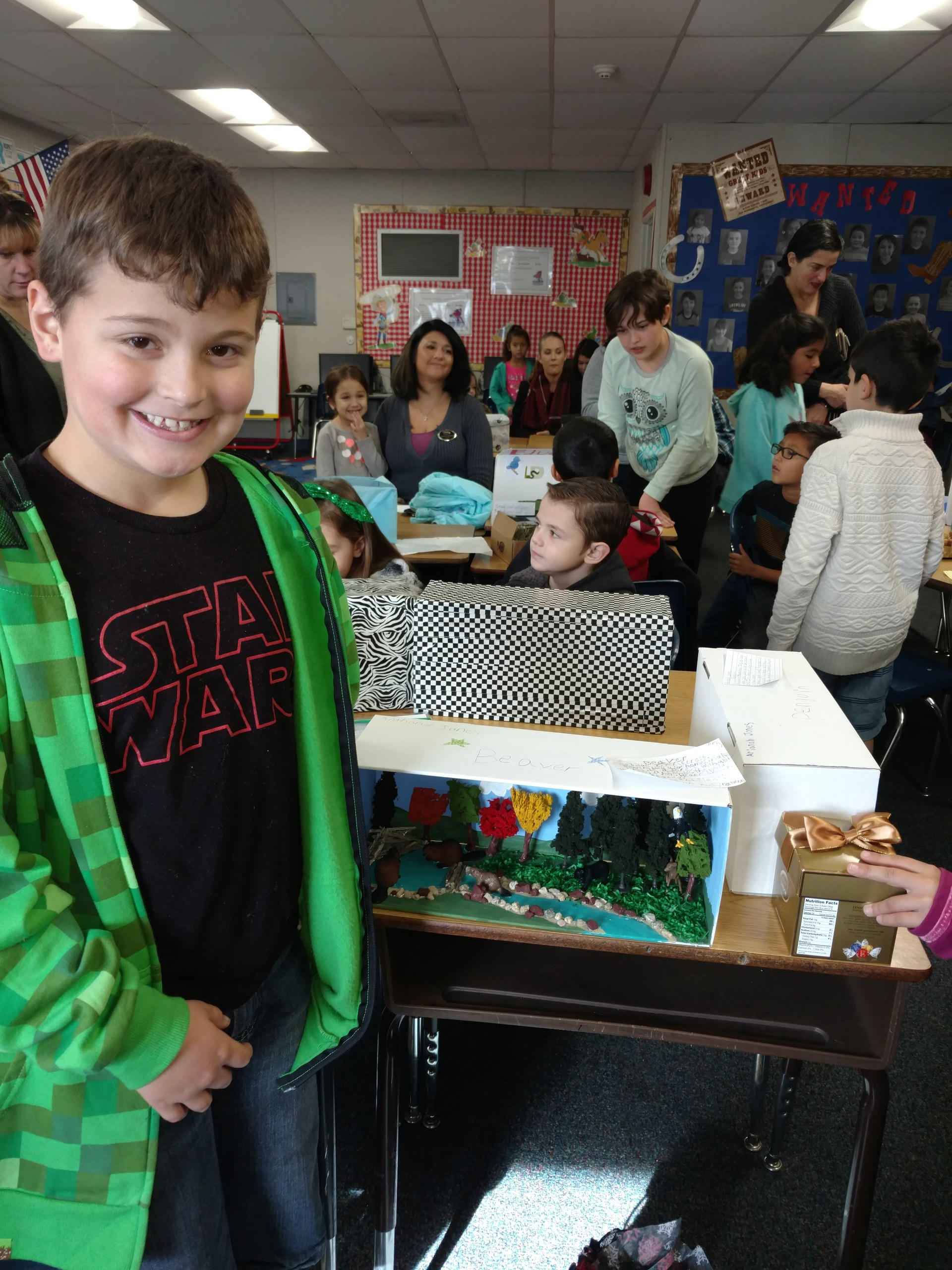 Student showing his project