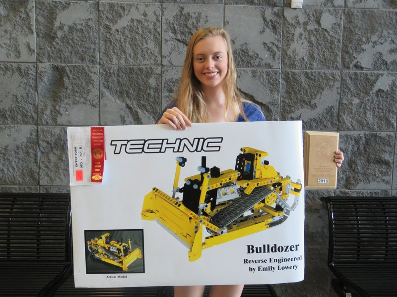 TKHS student Emily  Lowery with her engineering project.