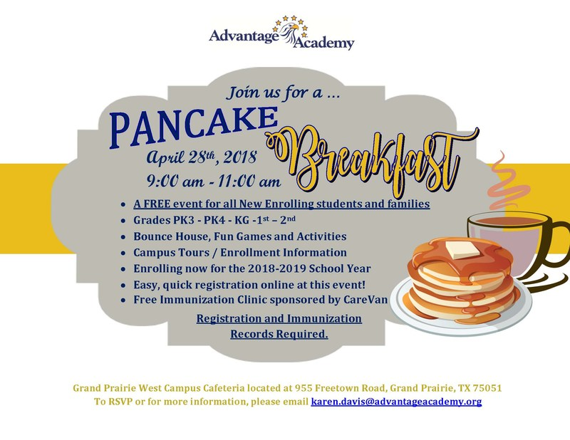 Pre-Kindergarten Pancake Breakfast & other Free Enrollment Events Featured Photo