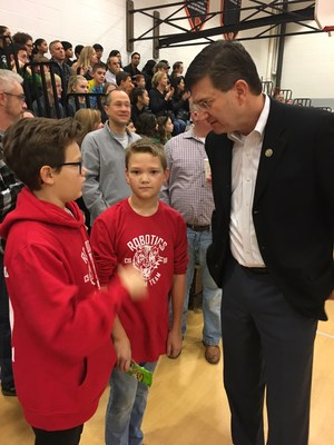 Representative Brad Schneider was on hand to open the FLL Tournament at CSMS.