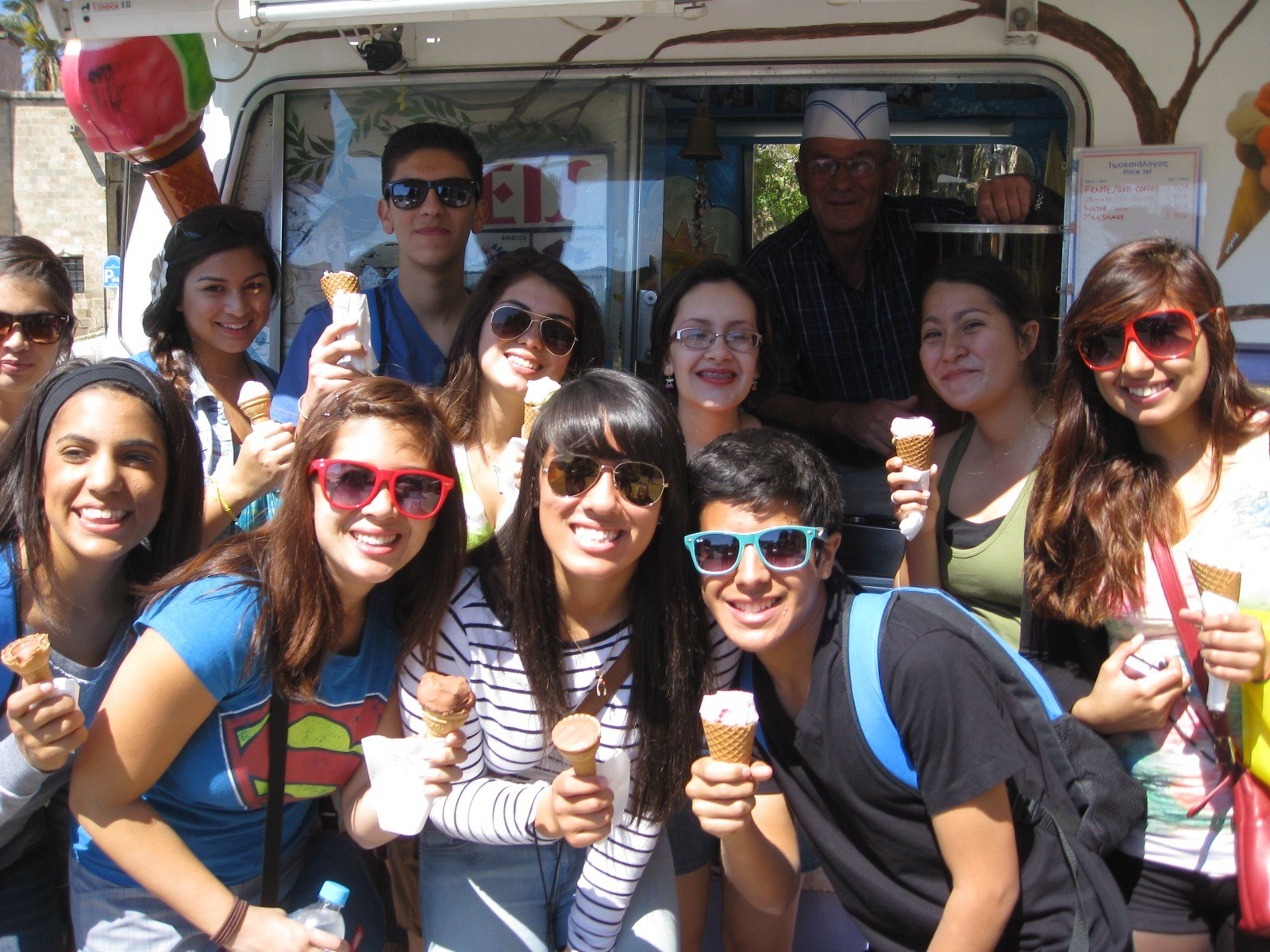 Great Books students having ice cream on the Isle of Rhodes.