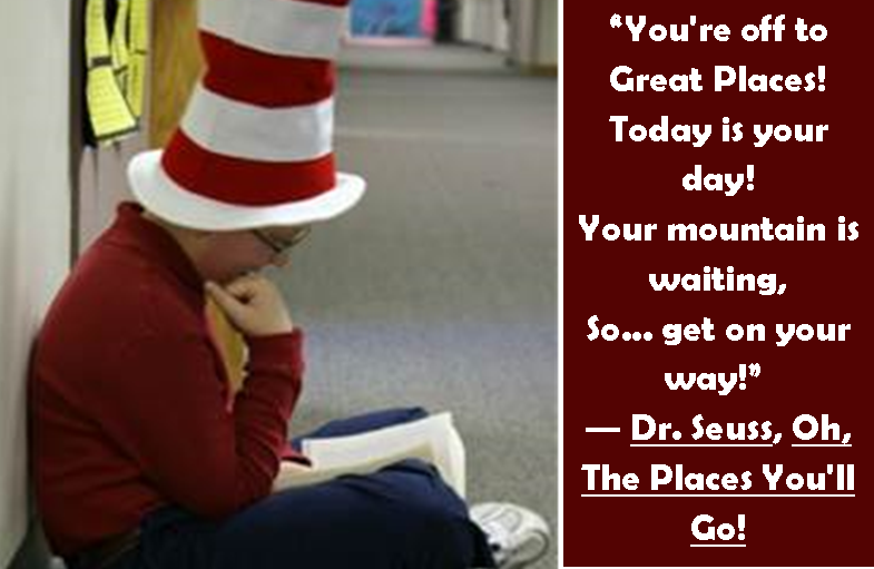 Student reading Dr. Seuss book