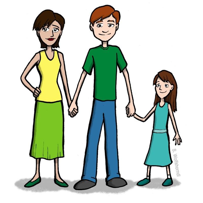 mom, dad, daughter