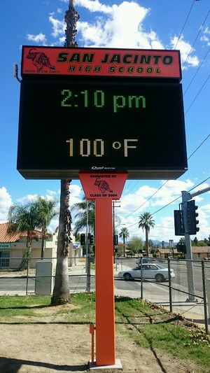New LED sign installed at the corner of Ramona Blvd. and Tiger Lane showing time and temperature.