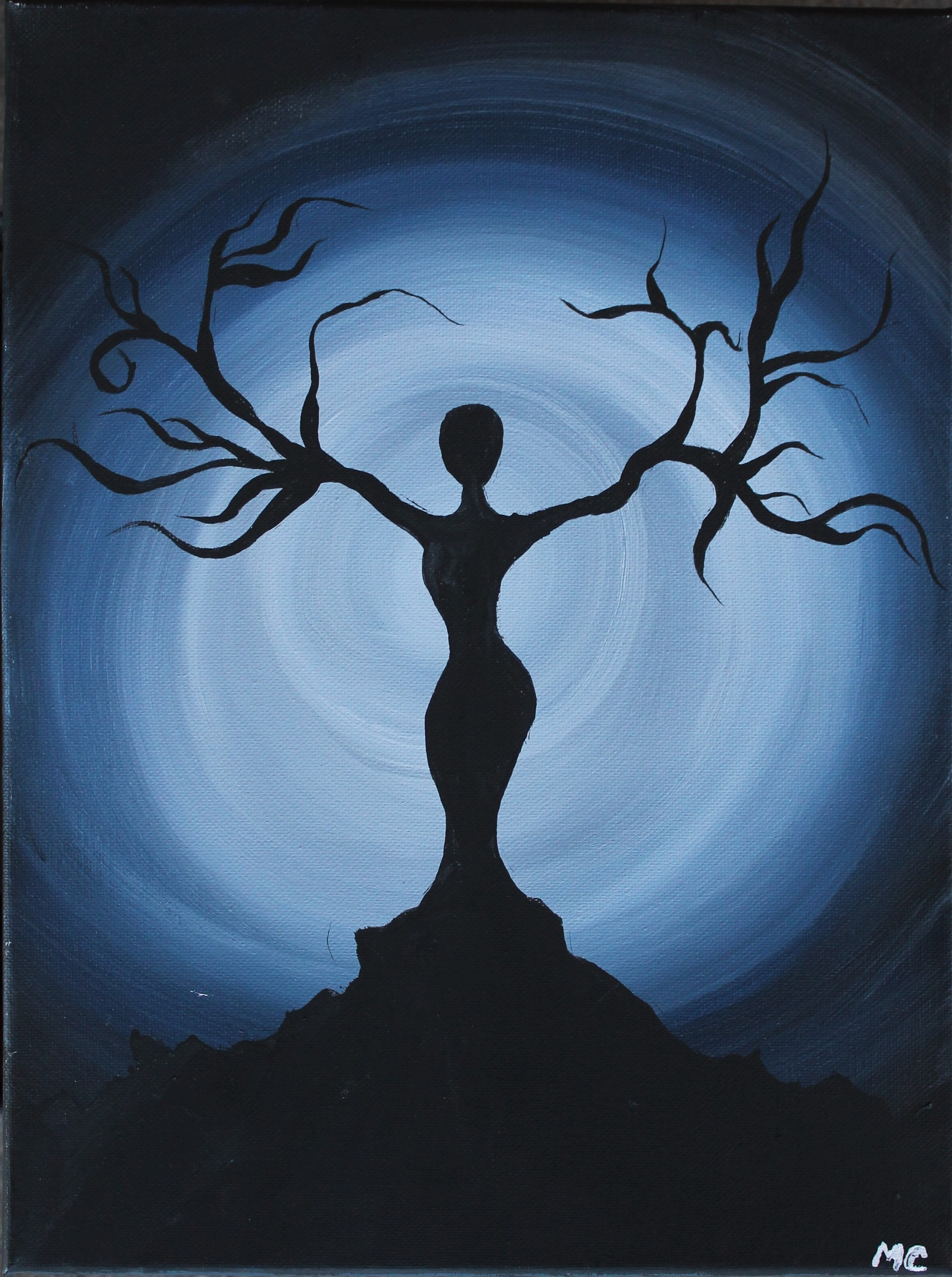 Student Artwork-Painting of a woman growing into a tree