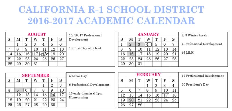 2016-17 District Calendar - Modified 6/29/16 Thumbnail Image