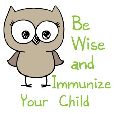Owl that says, be wise and immunize your child