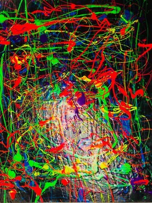 """Neon Explosion"" by Cecilia Salinas Morales based on her study of Jackson Pollock."