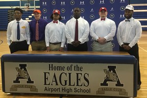 Six Airport High football players declared their intent Wednesday to play in college. From left:  Trevahn Robinson, Limestone College; Zachary Moseley, Missouri Valley College; Justin Rivers, Newberry College; Collyn Richardson, Newberry College; and Wesley Gilliard, North Greenville University.