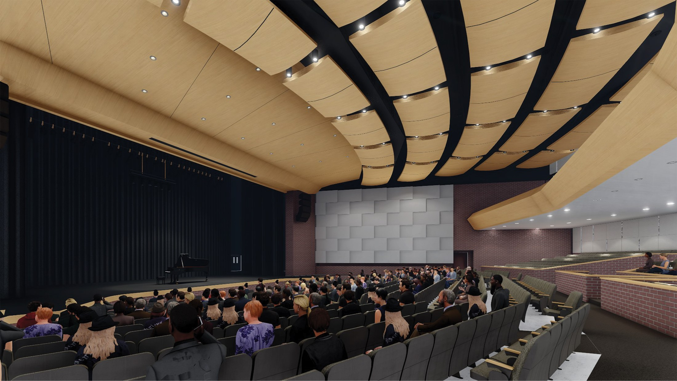 Interior render of theater of Auditorium