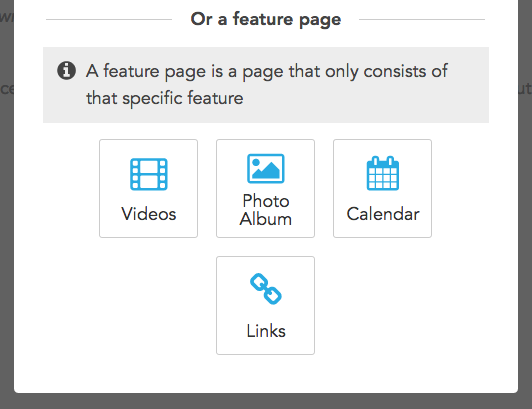 Feature pages available to add