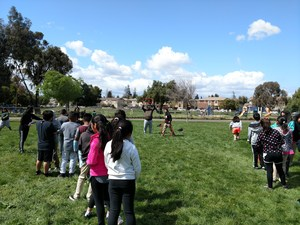 Students rush to finish a relay race, picture 1