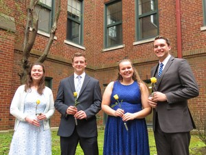 The four newly elected officers for OLSH NHS.