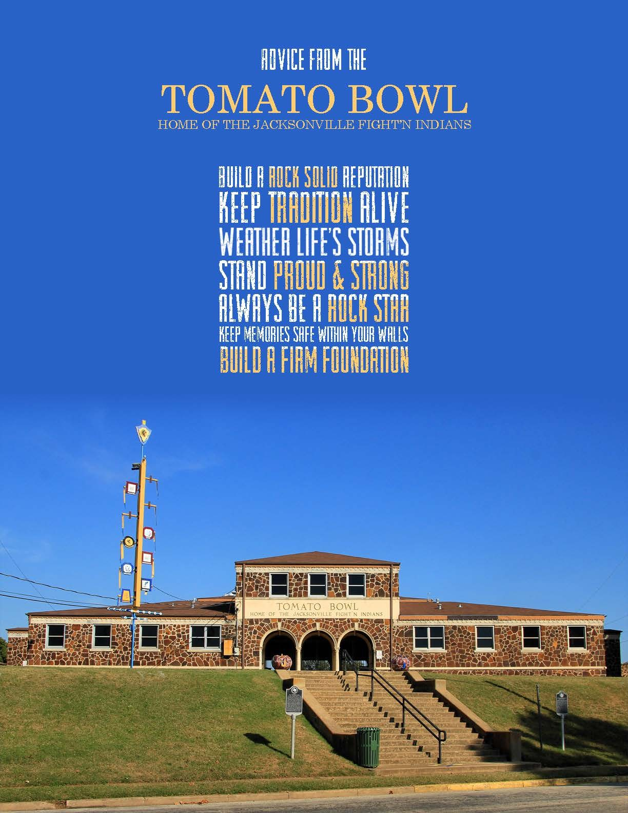 picture of the front of the tomato bowl with advice from the rock walls written on it