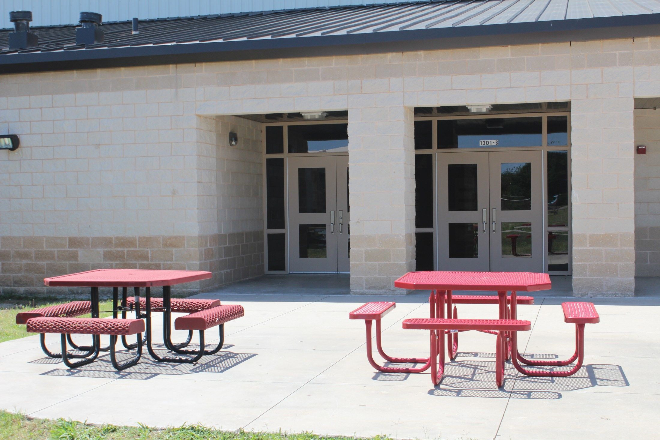 Outside picnic table area at Jr High New Gym