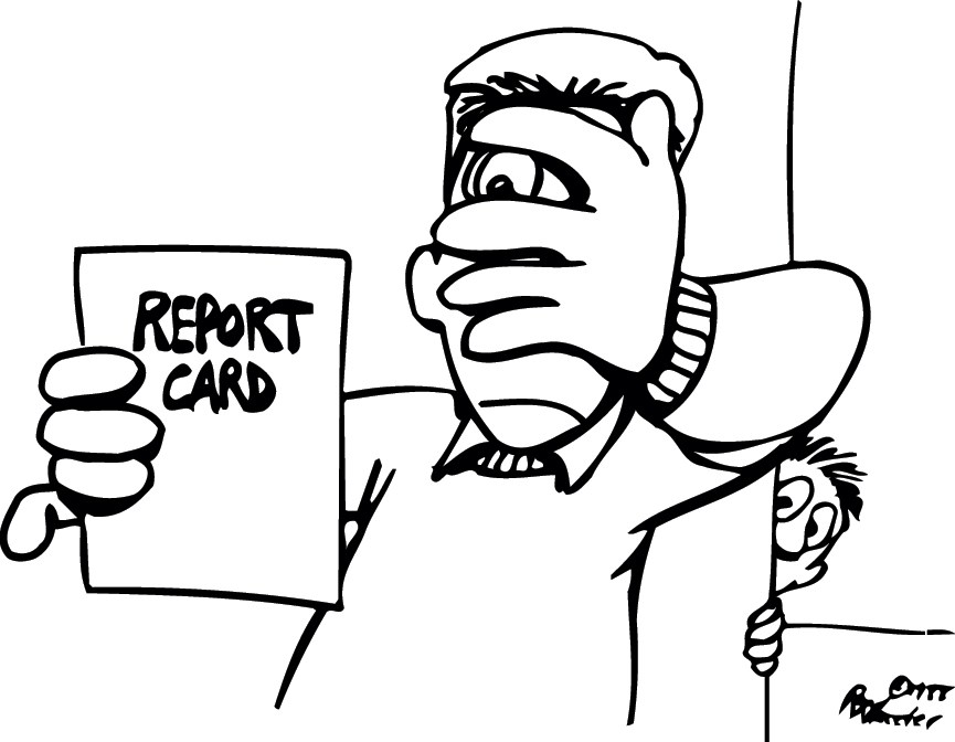 Can't look - report card cartoon