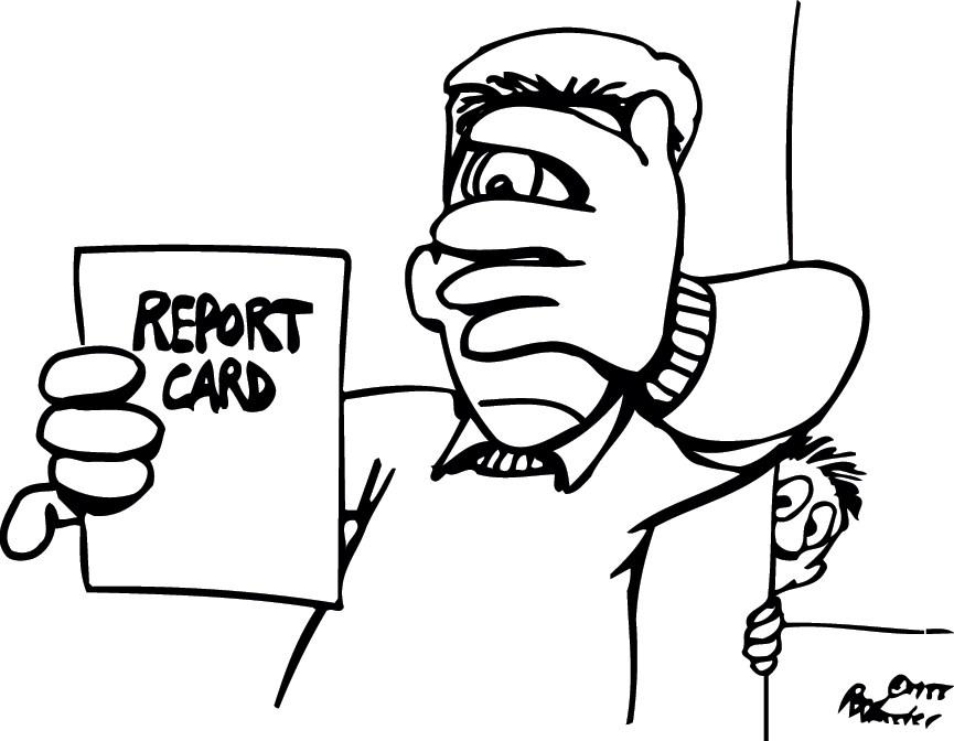 Can't look - report card cartoon