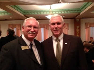 Supt. Thompson with Mike Pence