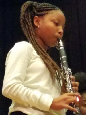 Band student performing