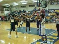 Basketball team shooting foul shots.