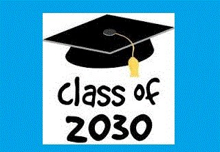 """Image of graduation cap that says """"Class of 2030"""""""