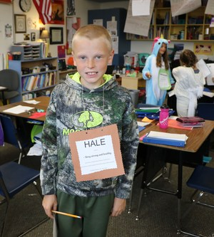Student dressed as the word Hale.