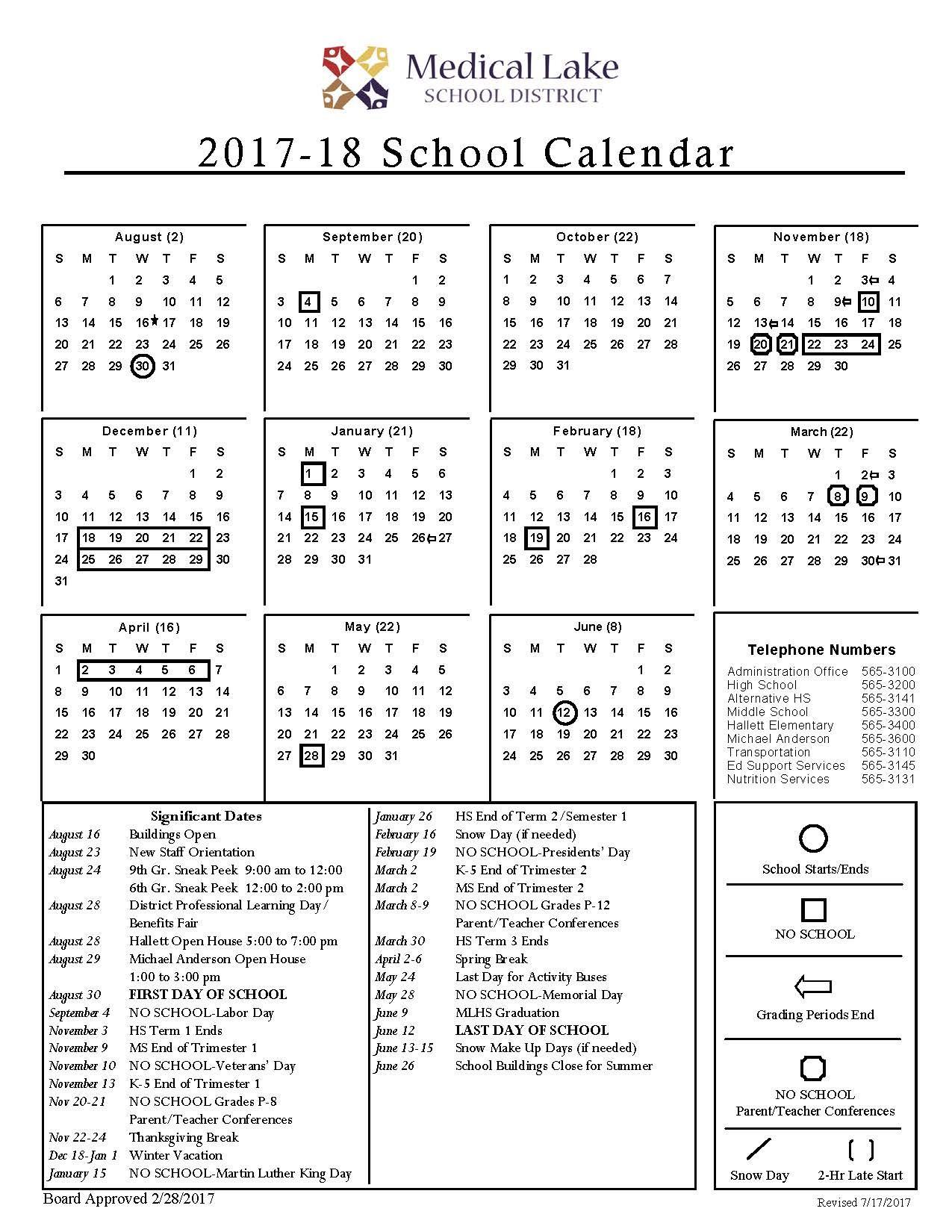 2017-18 School Year Calendar