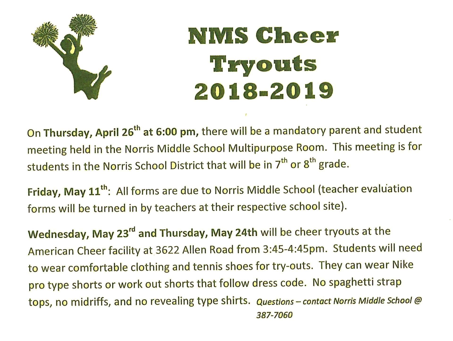 cheer info handout