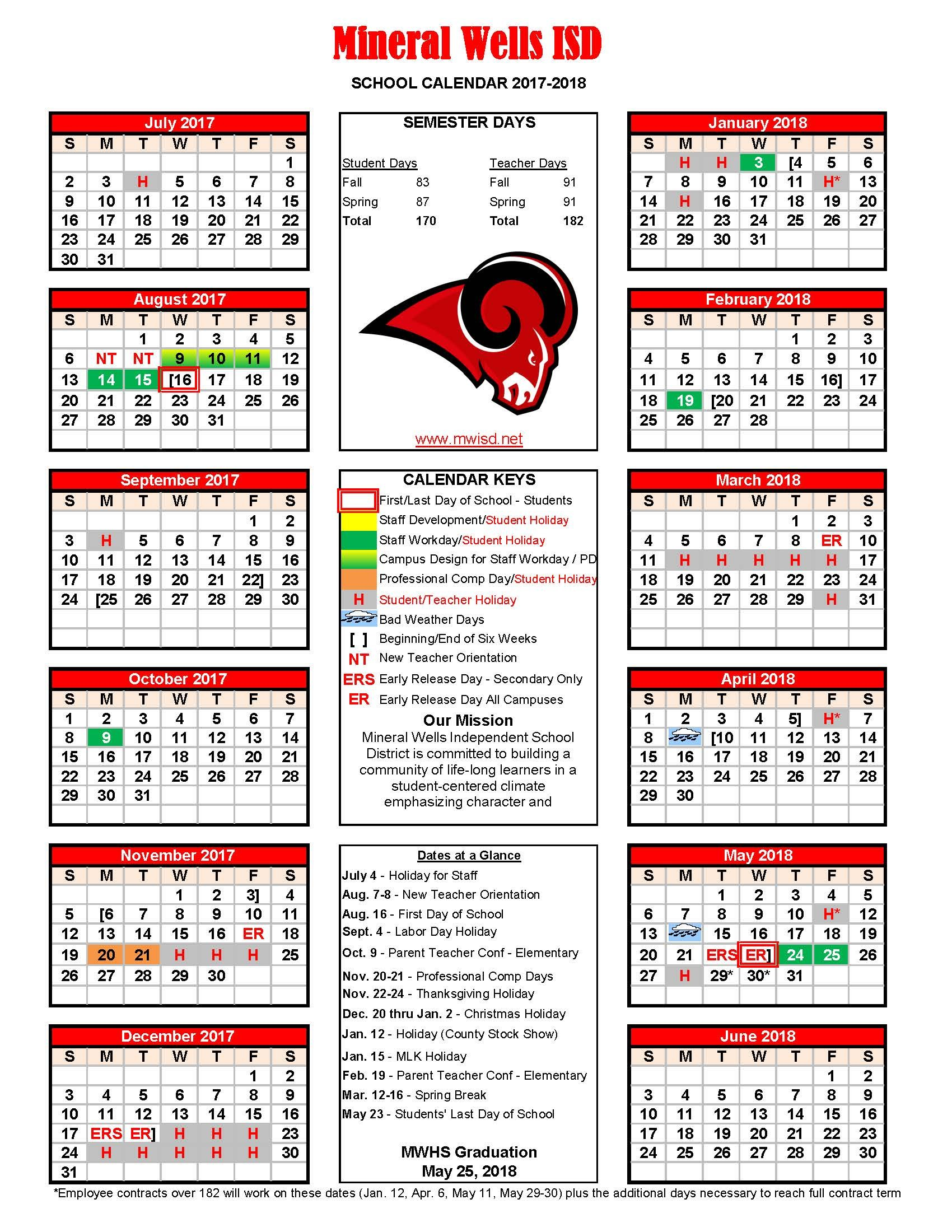 2017-18 MWISD District Calendar
