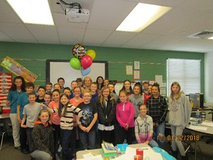 Ms. Tami Parker and her class, 6th grade teacher at Overlake Elementary