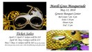 Flyer with Mardi Gras masques and information regarding prom