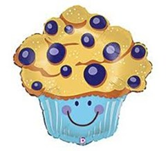 Blueberry muffin with smiley face!